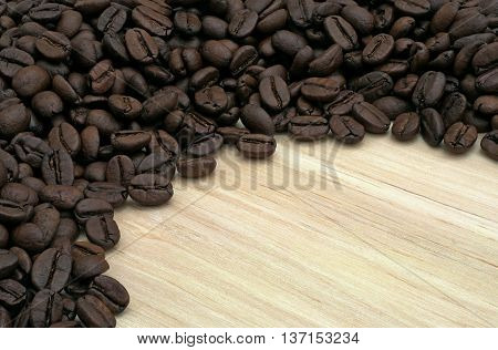 semicircle with coffee beans on wooden board