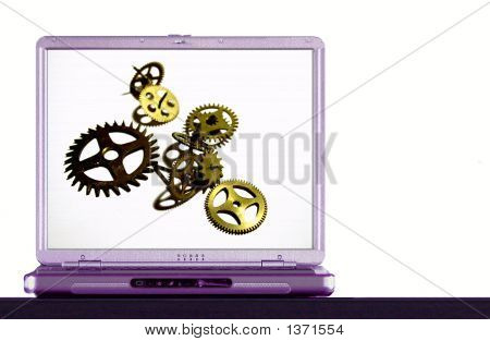 Notebook With Gears On The Screen