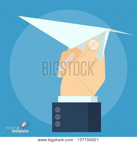 Flat design vector hand with paper plane icon. Mock up for application interface, presentation and web design. The concept template for startup, project, studying or career beginning.