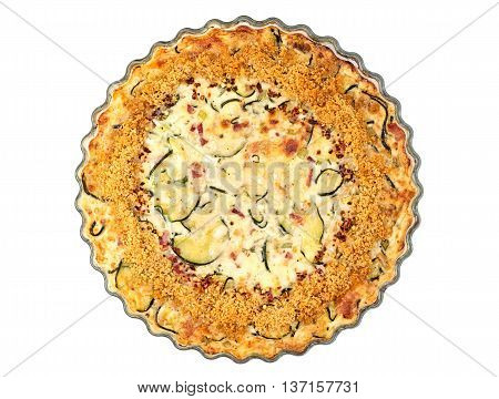 Top view of homemade crustless zucchini quiche baked in a glass fluted dish isolated on white