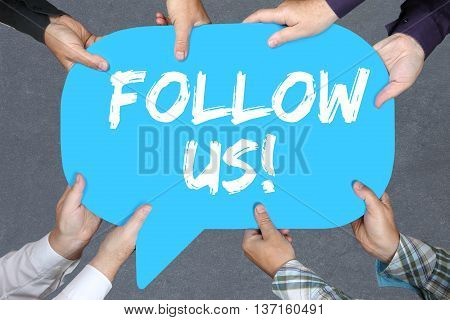 Group Of People Holding Follow Us Follower Followers Fans Likes Social Networking Media Internet