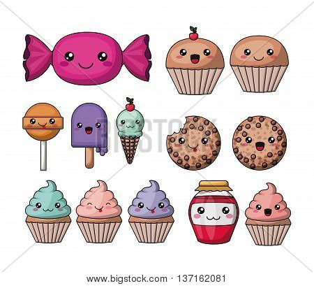 set kawaii style food isolated icon design, vector illustration  graphic