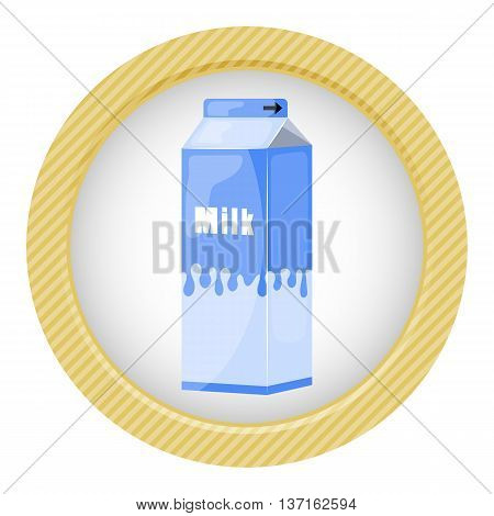Milk pack colorful icon. Vector illustration in cartoon style poster
