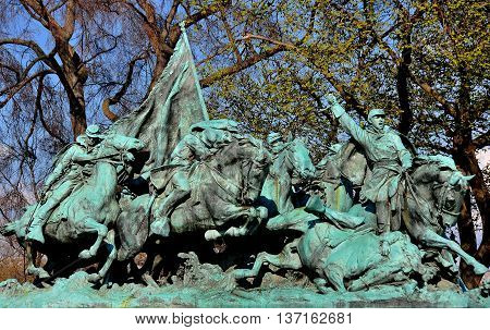 Washington DC - April 9 2014: Heroic Civil War sculptures at the Ulysses S. Grant Civil War Memorial opposite the Capitol Reflecting Pool *
