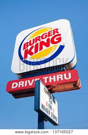 DARTMOUTH CANADA - JULY 03 2016: Burger King is a chain of fast food restaurants operating in most countries in the Western Hemisphere Europe and East Asia. Burger King is based in Miami, FL.