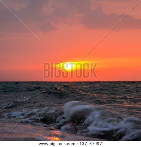 Sunset on the town of Progreso on a Yucatan Peninsula Beach