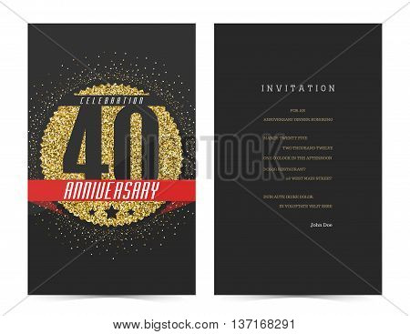 40th anniversary decorated greeting card template with gold elements.