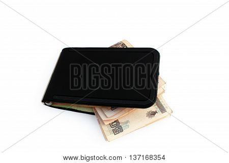 Clip on black wallet with Mexican Pesos bills inside