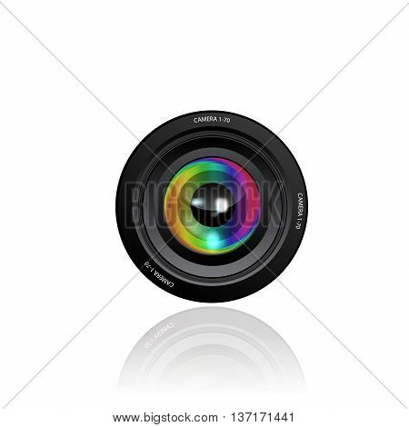 Camera Lens vector icon on white background.