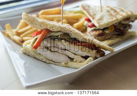 Grilled pesto chicken panini with crispy steak fries cole slaw and pickle