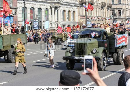 St. Petersburg, Russia - 9 May, Soldiers and machines of World War II in the