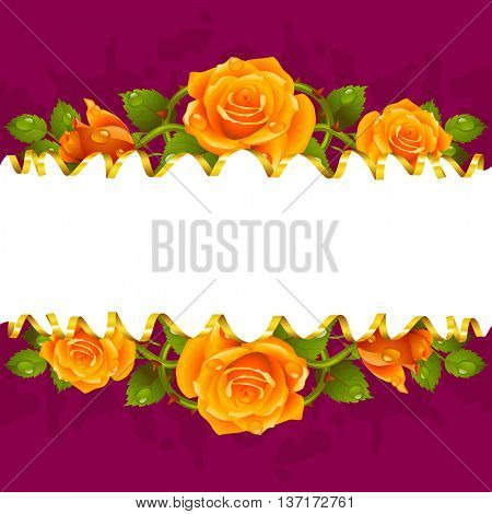Vector horizontal frame whith yellow roses and golden ribbon