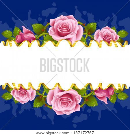 Vector horizontal frame whith pink roses and golden ribbon