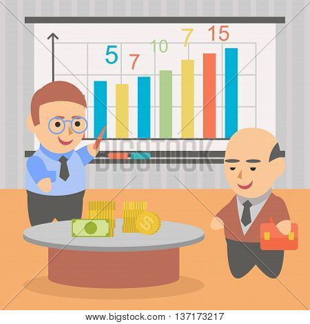 Vector clipart two businessman studying firm statistics