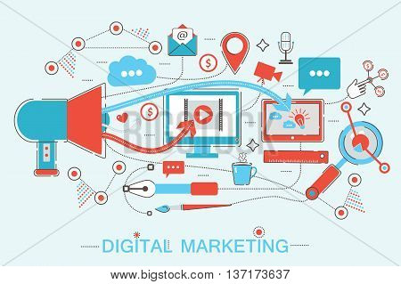 Online Digital Marketing and social network media branding strategy Media Concept for promo, printed materials and web banner