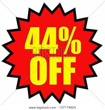 Discount 44 Percent Off. 3D Illustration On White Background.