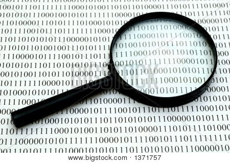 Magnifying Glass And Binary Code