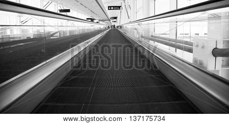 Airport Architecture Escalator Movement and Skyway Perspective