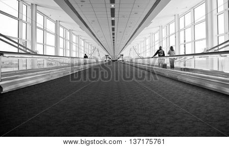 Airport Architecture Escalator Movement and Skyway Perspective poster