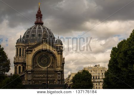 Front of Saint Augustin Church in Paris, France
