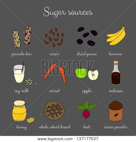 Hand drawn sugar sources on chalkboard background. Granola bar honey beet banana dried prune raisin molasses cocoa whole grain bread carrot soy milk apple.