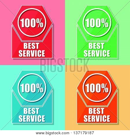 best service 100 percentages - four colors web icons, flat design, business support concept, vector