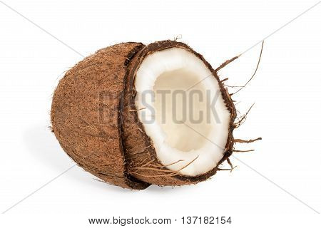Half a coco with pulp inside the coconut shell isolated on white background