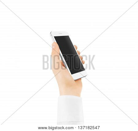 White smart phone blank screen mock up holding in hand. Mockup of smartphone empty display isolated. Cellphone clear monitor hold arm white sleeve shirt. Phone side holding, clipping path.