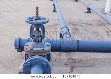 Blue pipes and valves on the rooftop.