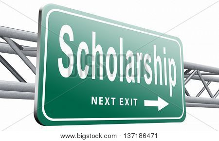 Scholarship or grant for university or college education study funding application for school funds, 3D illustration, isolated on white background