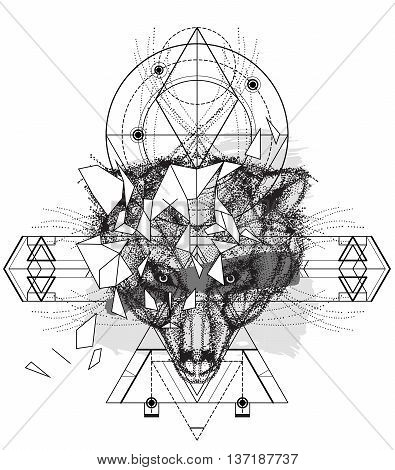 Animal bear head triangular icon , geometric trendy indian line design. Vector illustration ready for tattoo or coloring book. Bear head low-poly sketch hand drawn