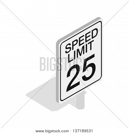 Speed limit traffic road sign icon in isometric 3d style isolated on white background