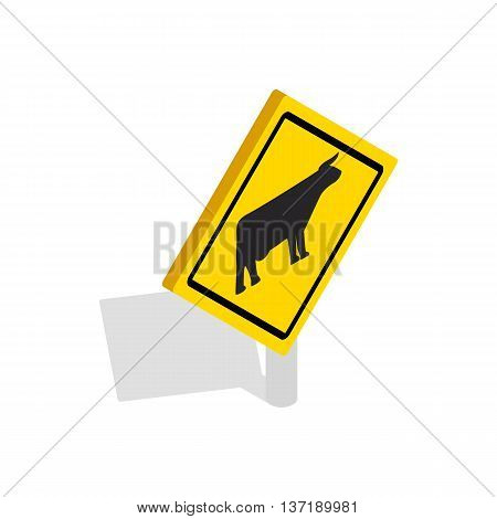 Cattle traffic warning icon in isometric 3d style isolated on white background