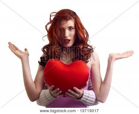 boyfriend hands present surprice valentines heart to woman