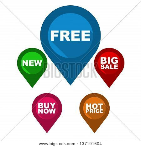 This is set vector map pointer / blue pin free / green pin new / red pin big sale / purple pin buy now / orange pin hot price