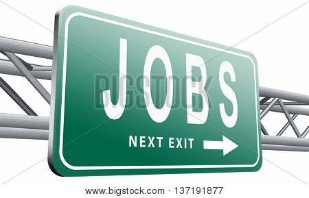 job search vacancy for jobs online job application help wanted hiring now job ad advert advertising road sign billboard, 3D illustration isolated on white