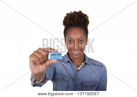 A young woman holding a raffle ticket isolated on white