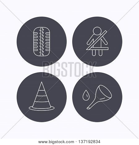 Tire tread, traffic cone and oil change icons. Fasten seat belt linear sign. Flat icons in circle buttons on white background. Vector
