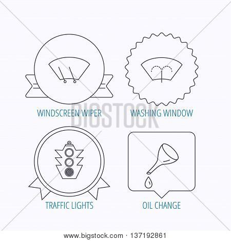 Motor oil change, traffic lights and wiper icons. Washing window, windscreen wiper linear signs. Award medal, star label and speech bubble designs. Vector