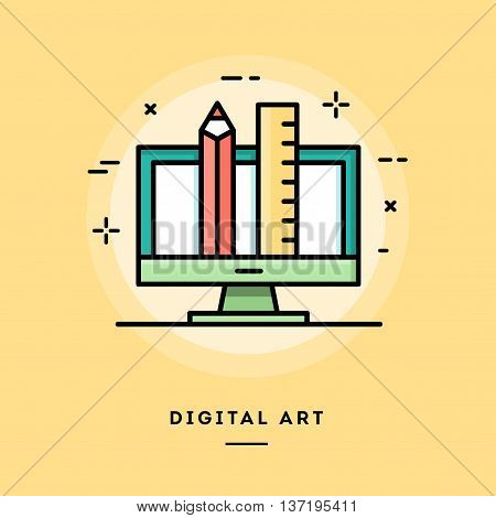 Digital art flat design thin line banner usage for e-mail newsletters web banners headers blog posts print and more