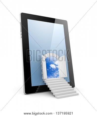 The door to a new virtual reality through pad. 3d illustration