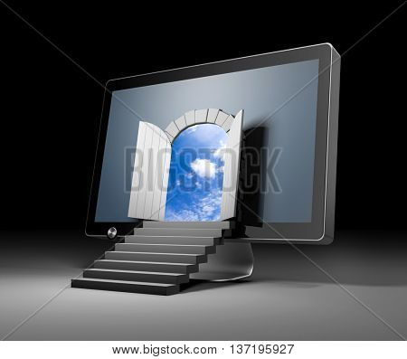 The door to a new virtual reality through monitor. 3d illustration