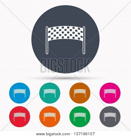 Finishing checkpoint icon. Marathon banner sign. Icons in colour circle buttons. Vector