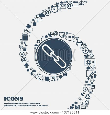 Link Sign Icon. Hyperlink Chain Symbol In The Center. Around The Many Beautiful Symbols Twisted In A
