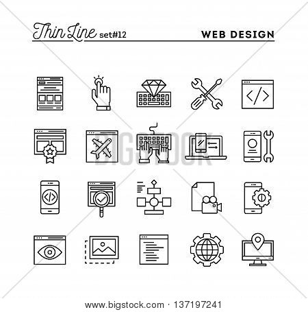 Web design coding responsive app development and more thin line icons set vector illustration