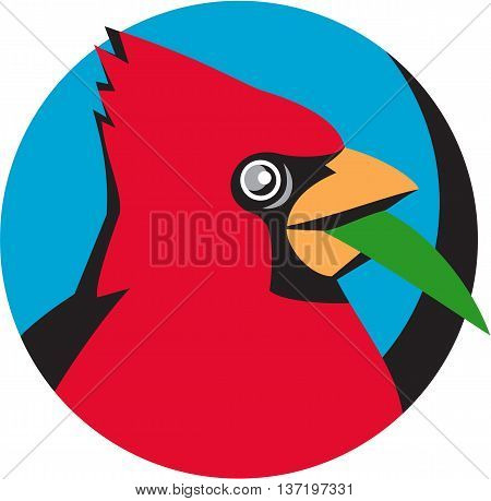 Illustration of a head of a Cardinal in the family Cardinalidae are passerine birds found in North and South America also known as cardinal-grosbeak and cardinal-bunting with a blade grass viewed from the side set inside circle done in retro style.