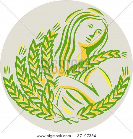 Illustration showing Demeter Greek goddess of the harvest and agriculture who presided over grains and fertility holding wheat grain looking to the side viewed from front set inside circle done in retro style.