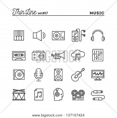 Music sound recording editing and more thin line icons set vector illustration