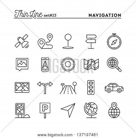 Navigation direction maps traffic and more thin line icons set vector illustration