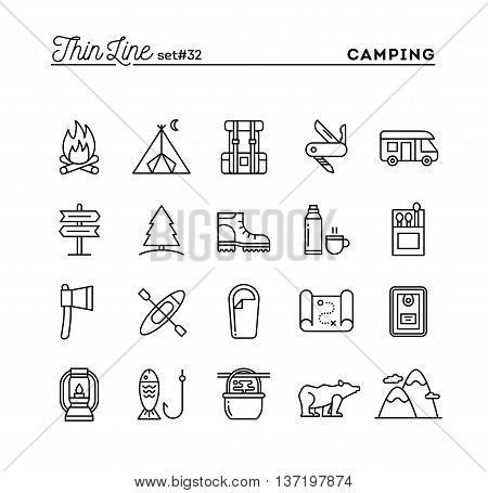 Camping hiking wilderness adventure and more thin line icons set vector illustration